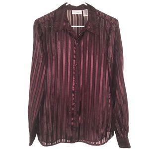 Burgundy Sheer Satin Stripes Blouse, Size Large